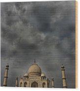 Dark Clouds Over Taj Mahal Wood Print