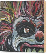 Dark Clown Wood Print