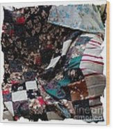 Dark Colored Blocks Patchwork Quilt  Wood Print