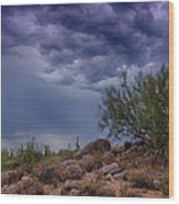 Dark Desert Skies  Wood Print