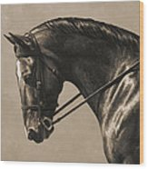 Dark Dressage Horse Aged Photo Fx Wood Print