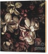 Dark Flowers Wood Print