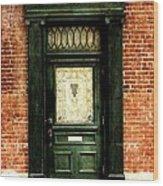 Dark Green Doorway Photograph Print Wood Print