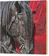 Dark Horse Against Red Dress Wood Print