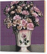 Dark Ink Vase And Flowers Wood Print