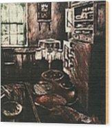 Dark Kitchen Wood Print
