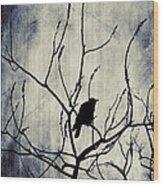 Crow In Dark Lights Wood Print