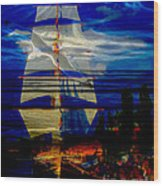 Dark Moonlight With Sails And Seagull Wood Print
