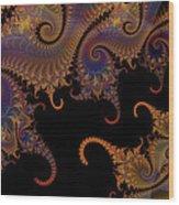 Dark Paisley Tails Wood Print