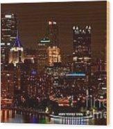 Dark Pittsburgh Skyline Wood Print