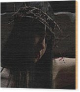 Dark Portrait Of A Female Jesus Wood Print