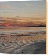 Dark Red Beach Sunset Wood Print