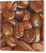 Dark Roasted Coffee Beans Wood Print