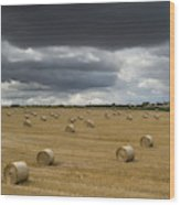 Dark Storm Clouds Over A Field With Hay Wood Print