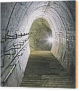 Dark Tunnel And Staircase Wood Print