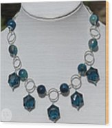 Dark Turquoise Crystal And Faceted Agate Necklace 3676 Wood Print