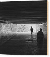 Dark Underpass Wood Print