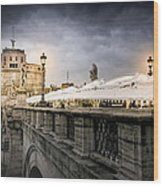 Dark Winter Evening At Castel Sant'angelo - Rome Wood Print
