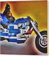 Darth Vader Rides A Harley  Hdr Wood Print