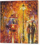 Date By The Trolley - Palette Knife Oil Painting On Canvas By Leonid Afremov Wood Print