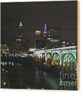 Date Night In Cleveland - From His Window Wood Print by LCS Art