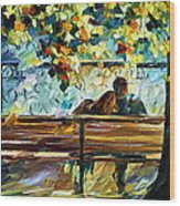 Date On The Bench Wood Print
