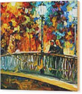 Date On The Bridge - Palette Knife Oil Painting On Canvas By Leonid Afremov Wood Print