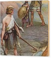 David And Goliath Wood Print by Arthur A Dixon