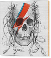 David Bowie Aladdin Sane Medusa Skull Wood Print