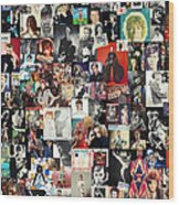 David Bowie Collage Wood Print