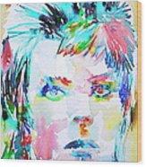 David Bowie - Watercolor Portrait.6 Wood Print