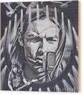 David Gilmour Of Pink Floyd - Echoes Wood Print by Sean Connolly