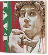 David - Michelangelo - Stylised Modern Drawing Art Sketch  Wood Print