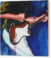David On Guitar Wood Print