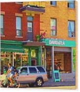 Davids Tea Room Rue St Viateur Next To The Bagel Shop Montreal Street Scene Art Carole Spandau   Wood Print