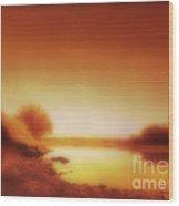 Dawn Arkansas River Wood Print by Ann Powell
