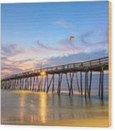 Dawn At Avalon Pier Wood Print