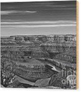Dawn At Dead Horse Point Bw Wood Print