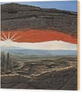 Dawn At Mesa Arch Canyonlands Utah Wood Print