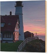 Dawn At Portland Lighthouse Wood Print