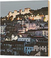 Dawn At St. George Castle Lisbon Wood Print