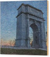 Dawn At The Arch Wood Print