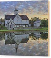 Dawn At The Star Barn Wood Print