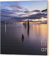 Dawn Breaks Over The Pier Wood Print