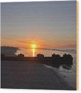 Dawn By The Ocean Wood Print