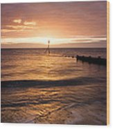Dawn By The Sea Wood Print