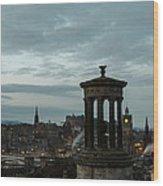 Dawn In Edinburgh Wood Print