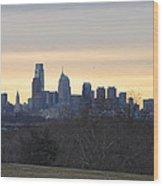 Dawn In Philadelphia Wood Print