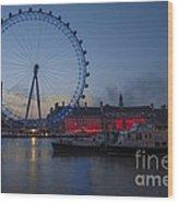 Dawn Light At The London Eye Wood Print by Donald Davis
