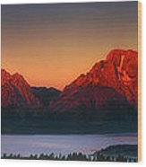 Dawn Light On The Tetons Grant Tetons National Park Wyoming Wood Print